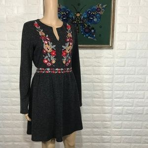 THML Gray Embroidered Long sleeve Dress L